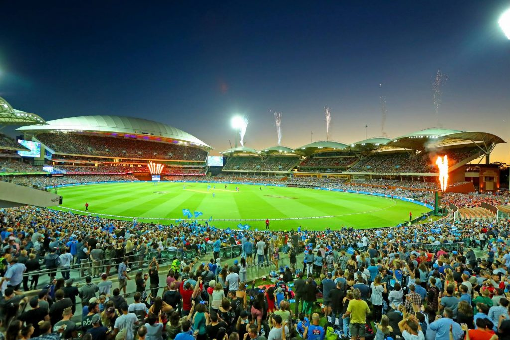 Fans watching the BBL at Adelaide Oval