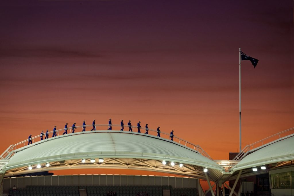 RoofClimbers On Adelaide Oval At Sunset