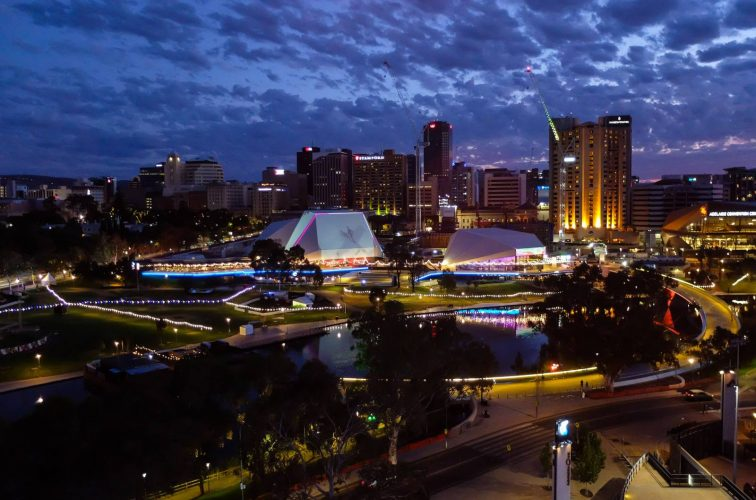 View of Adelaide at night from Adelaide Oval